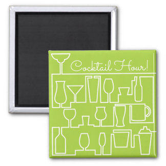 Lime green cocktail party square magnet