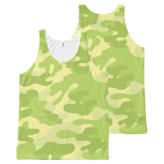 Lime Green Color Camouflage Pattern All-Over Print Singlet