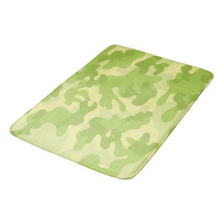 Lime Green Color Camouflage Pattern Bath Mat