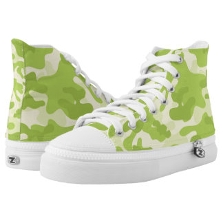 Lime Green Color Camouflage Pattern High Tops