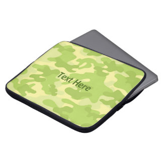 Lime Green Color Camouflage Pattern Laptop Sleeve