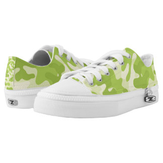 Lime Green Color Camouflage Pattern Low Tops