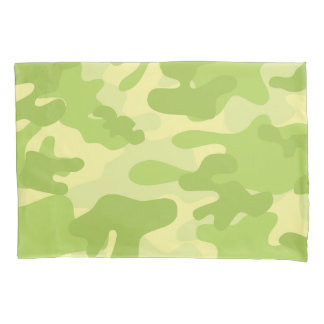 Lime Green Color Camouflage Pattern Pillowcase