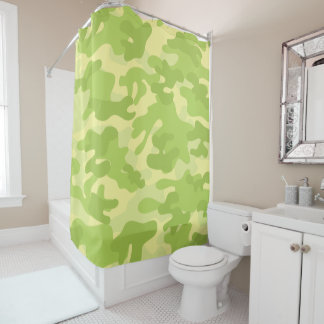Lime Green Color Camouflage Pattern Shower Curtain