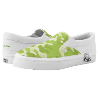 Lime Green Color Camouflage Pattern Slip-On Shoes