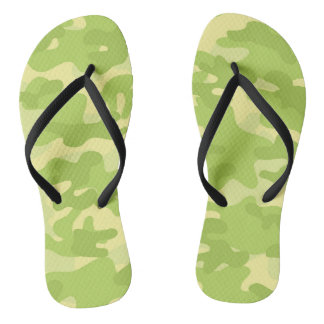 Lime Green Color Camouflage Pattern Thongs