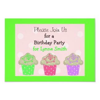 "Lime Green Cupcake Birthday Party Invitation 3.5"" X 5"" Invitation Card"