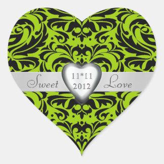 Lime Green Damask Candy Buffet Heart Sticker