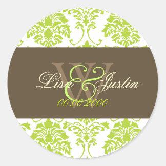 Lime green Damask monogram wedding stickers