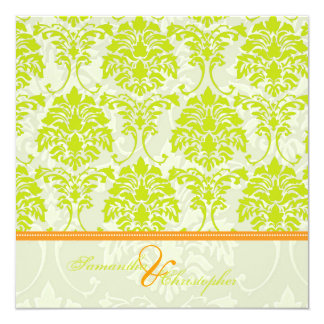 Lime green damask on Ivory Damask/orange accent Card