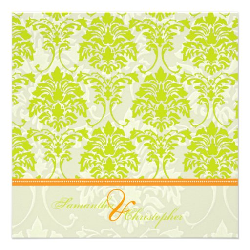 Lime green damask on Ivory Damask/orange accent Announcements