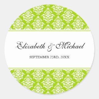 Lime Green Damask Round Wedding Favor Label Round Sticker