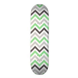 Lime Green, Dark Gray, Light Gray, & White Chevron Skate Board Deck