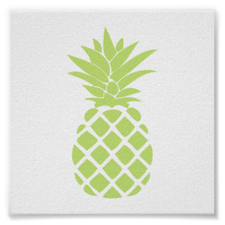 Lime Green Decorative Pineapple Shape Poster