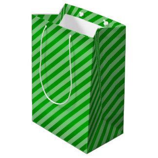 Lime Green Diagonal Stripe Pattern Medium Gift Bag