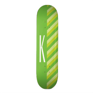 Lime Green Diagonal Stripes Skate Boards