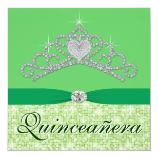 Lime Green Diamond Tiara Green Quincenera Card