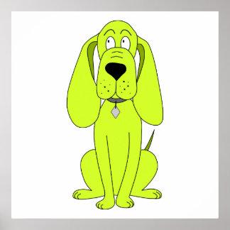 Lime Green Dog. Cute Hound Cartoon. Poster