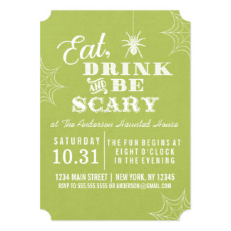 Lime Green Eat Drink and Be Scary Halloween Party Card