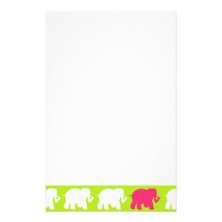 Lime green elephants design customized stationery