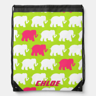 Lime green elephants drawstring backpack