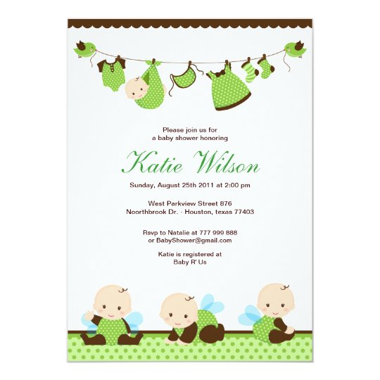 Lime Green Fairy Baby Shower Card