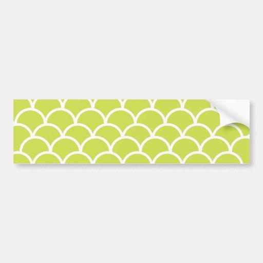 Lime green fish scale pattern bumper sticker
