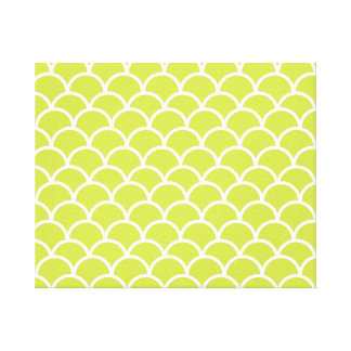 Lime green fish scale pattern gallery wrap canvas