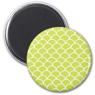 Lime green fish scale pattern refrigerator magnets