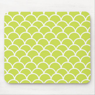 Lime green fish scale pattern mouse pad