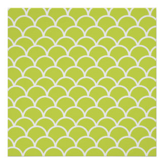 Lime green fish scale pattern poster