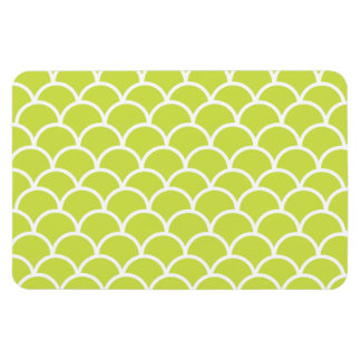 Lime green fish scale pattern rectangular magnets
