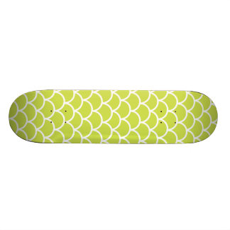 Lime green fish scale pattern skate board deck