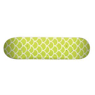 Lime green fish scale pattern custom skateboard