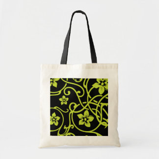 Lime Green Floral Scroll Design Tote Bags