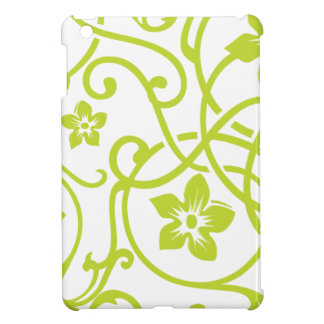 Lime Green Floral Scroll Design Case For The iPad Mini