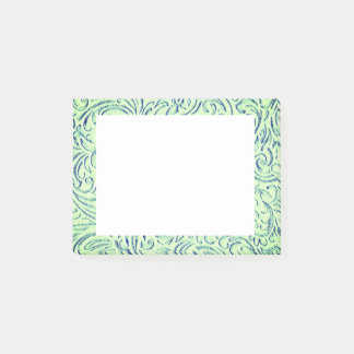 Lime Green Floral Scrollwork Graphic Post-it Notes