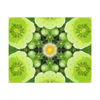 Lime Green Flower Mandala Canvas Print