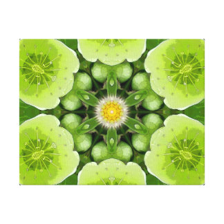 Lime Green Flower Mandala Gallery Wrapped Canvas