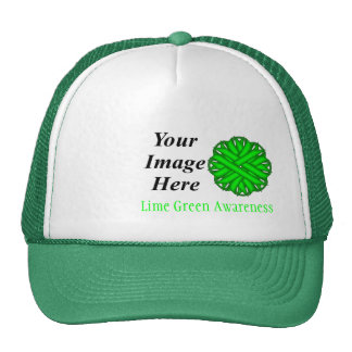 Lime Green Flower Ribbon Template Cap