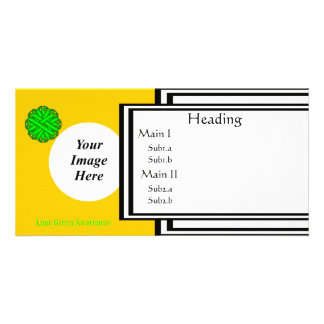 Lime Green Flower Ribbon Template Photo Card Template