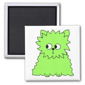 Lime Green Fluffy Cat. Refrigerator Magnets