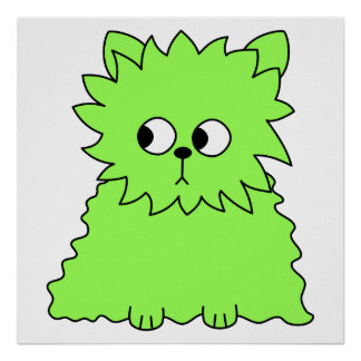 Lime Green Fluffy Cat Poster