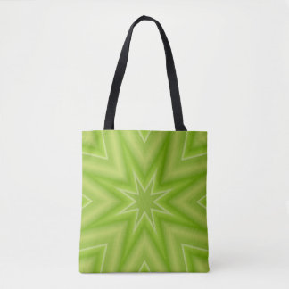 Lime Green Fractal Star Tote
