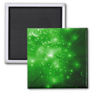 Lime Green Galaxy Burst Square Magnet
