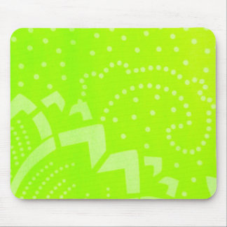 Lime Green geomentric dot stripe graphic pattern Mouse Pad