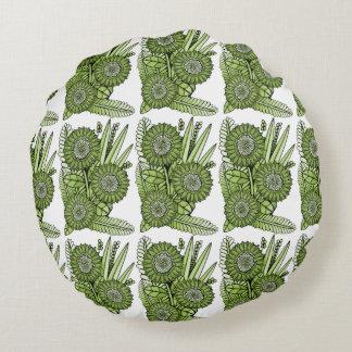 Lime Green Gerbera Daisy Flower Bouquet Round Cushion