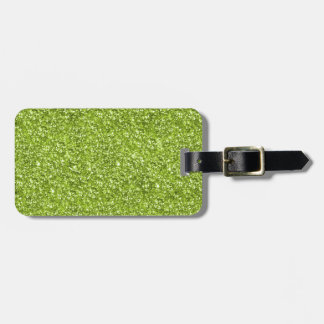 Lime Green Glitter Print Luggage Tag