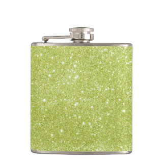Lime Green Glitter Sparkles Hip Flask