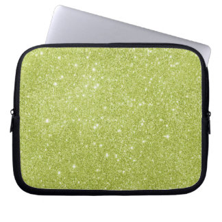 Lime Green Glitter Sparkles Laptop Computer Sleeve
